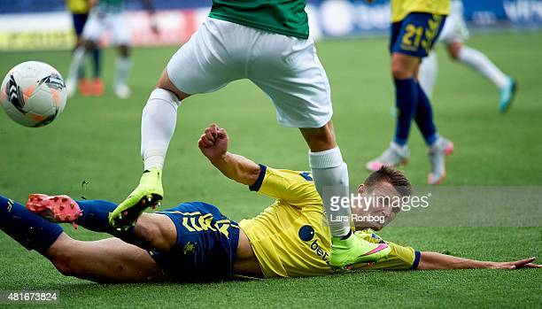 Elbasan Rashani of Brondby IF in action during the UEFA Europa League Qualification match between Brondby IF and PFC Beroe Stara Zagora at Brondby...