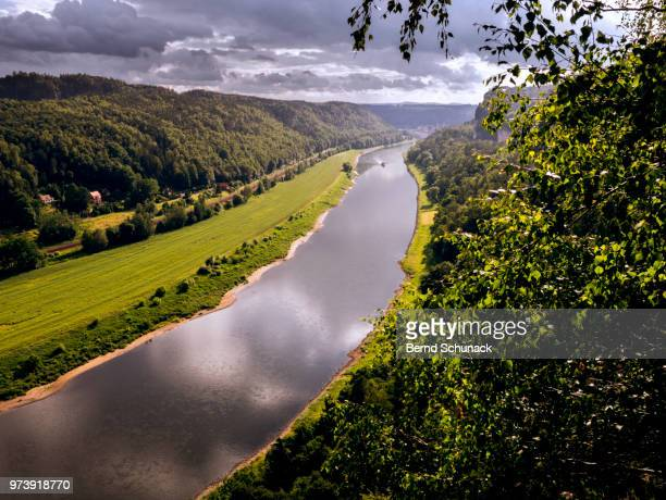 elbe and elbe sandstone mountains - bernd schunack stock photos and pictures