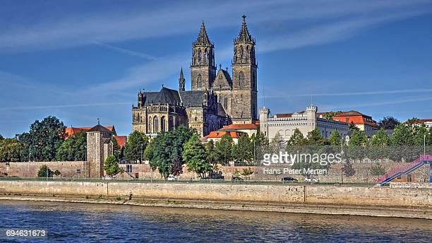 Elbe River and Cathedral, Magdeburg, Saxony-Anhalt