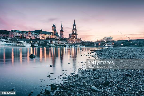 Elbe River With Buildings Reflection During Sunset