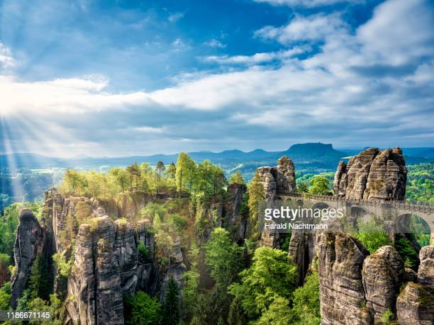 elbe sandstone mountains and bastei bridge at saxon switzerland national park, saxony, germany - east germany stock pictures, royalty-free photos & images