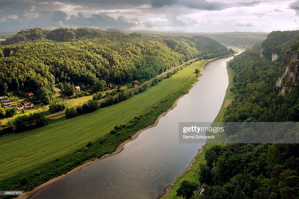 Elbe Valley and Elbe Sandstone Mountains : Stock Photo