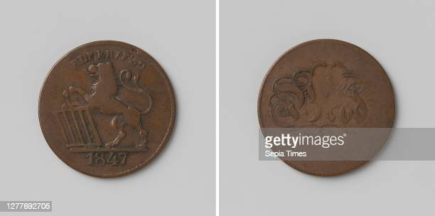 Elberfelder Kornverein, good for a loaf of bread, Copper Medal. Front: lion with front legs standing on altar with inscription, cut: year. Reverse:...