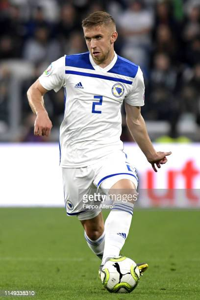 Eldar Civic of Bosnia in action during the UEFA Euro 2020 Qualifier between Italy and Bosnia and Herzegovina at Juventus Stadium on June 11 2019 in...