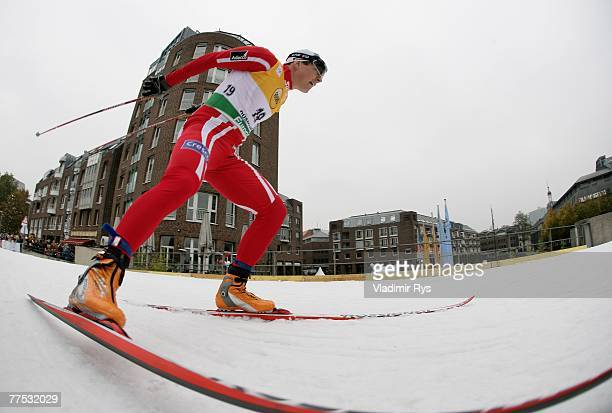 Eldar Roenning of Norway compete at the men sprint qualification during the FIS Cross Country World Cup at the Dusseldorf city circuit on October 27,...