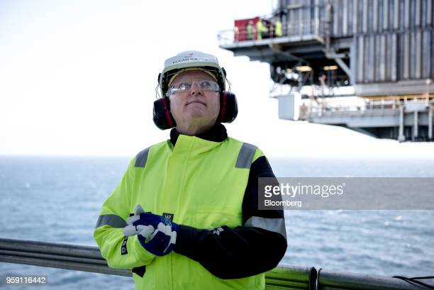 Eldar Saetre chief executive officer of Equinor ASA poses for a photograph on board the Troll A natural gas platform operated by Equinor ASA in the...