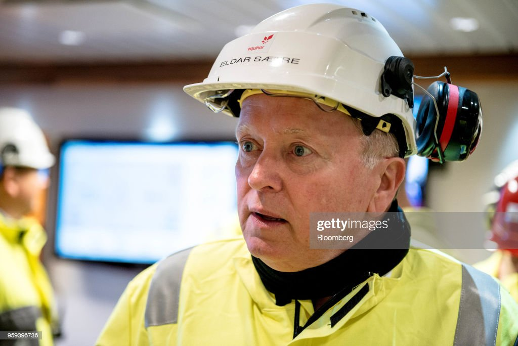 Eldar Saetre, chief executive officer of Equinor ASA, reacts on board the Troll A natural gas platform, operated by Equinor ASA, in the North Sea, Norway, on Wednesday, May 16, 2018. Statoil has changed its name toEquinorto reflect its mutation into a broader energy company.Photographer: Carina Johansen/Bloomberg via Getty Images