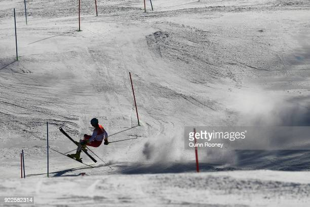 Eldar Salihovic of Montenegro crashes during the Men's Slalom on day 13 of the PyeongChang 2018 Winter Olympic Games at Yongpyong Alpine Centre on...