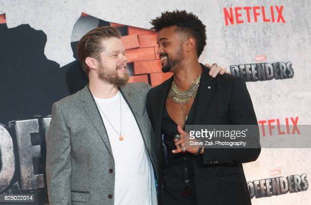 """Elden Henson and Eka Darville attend """"Marvel's The Defenders"""" New York premiere at Tribeca Performing Arts Center on July 31, 2017 in New York City."""