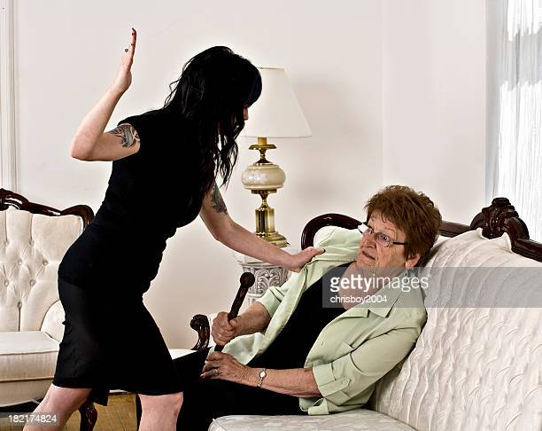 elder abuse - slapping stock pictures, royalty-free photos & images