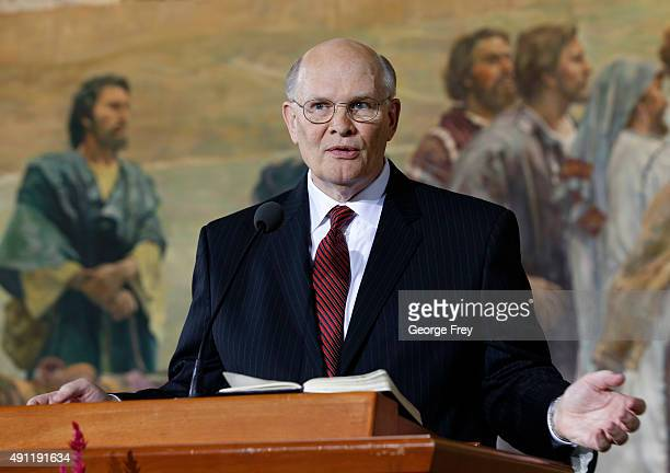 Elder Dale Renlund of the Church of Jesus Christ of LatterDay Saints talks to the press after he was called to fill one of the three Mormon Apostle...