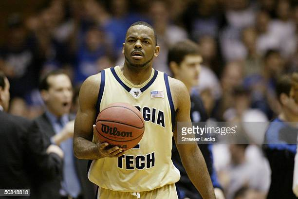 J Elder of the Georgia Tech Yellow Jackets with the ball during the game against the Duke Blue Devils on March 3 2004 at Cameron Indoor Stadium in...