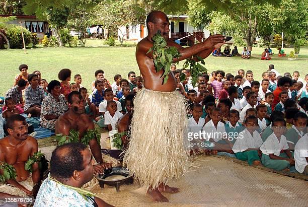 Elder performing Kava ceremony at school yard in Mome village