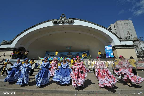 Elder women dance during the Old Love Parade held as part of the celebrations of Saint Valentine's Day on February 11 2011 at Constitution Square in...