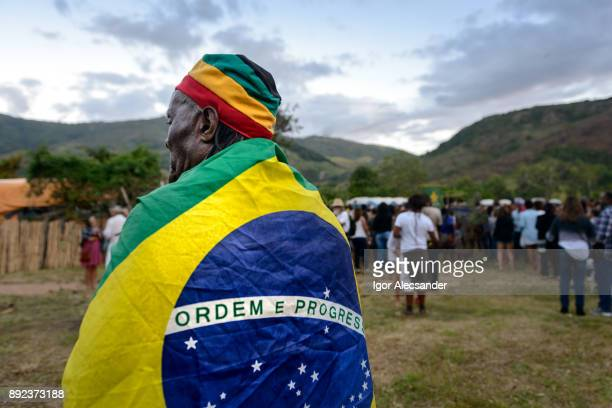 Elderly brazilian rastafari, afro culture festival