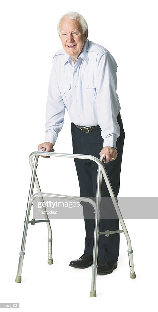 Elderly caucasian man with walker poses happily. : Stockfoto