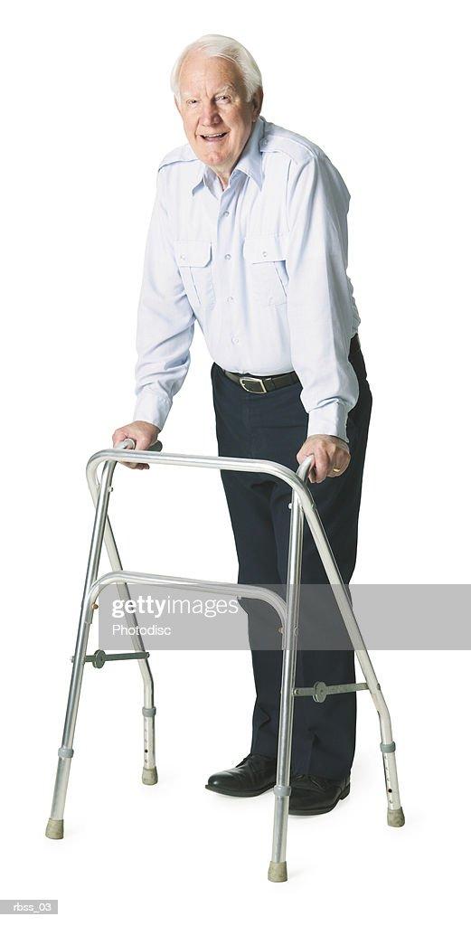 Elderly caucasian man with walker poses happily. : Foto de stock