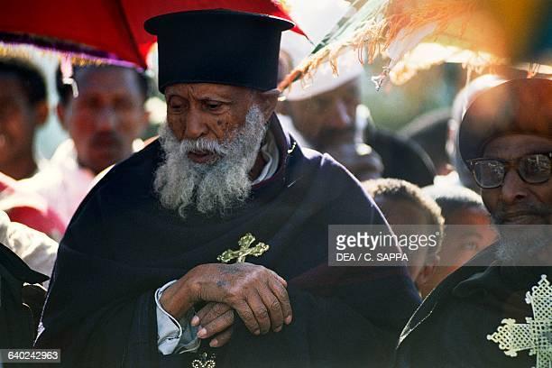 Elderly Coptic priest Timkat festival Coptic Epiphany Gondar Ethiopia