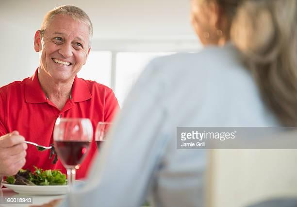 Elderly couple dinning