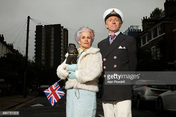 Elderly couple dressed up for Queens Jubilee