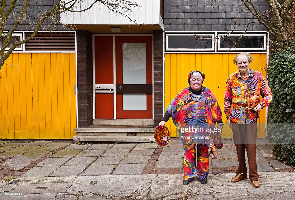 Elderly Couple in eccentric outfits : Stock Photo