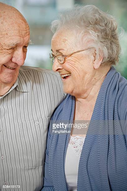 Elderly Couple in Nursing Home Smiling