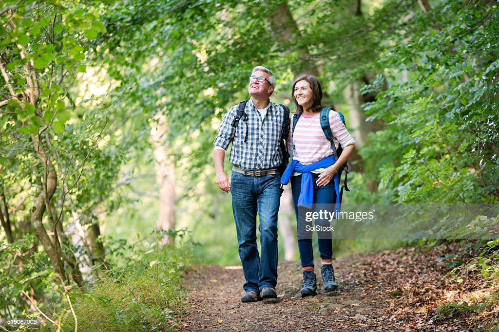 Elderly couple out for a walk : Stock Photo