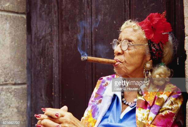 Elderly Cuban Woman Smoking Cigar