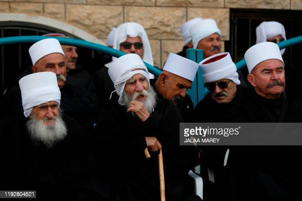 Elderly Druze dignitaries attend a ceremony following the release of Sidqi alMaqt and Amal Abu Saleh from an Israeli prison in the Druze village of...