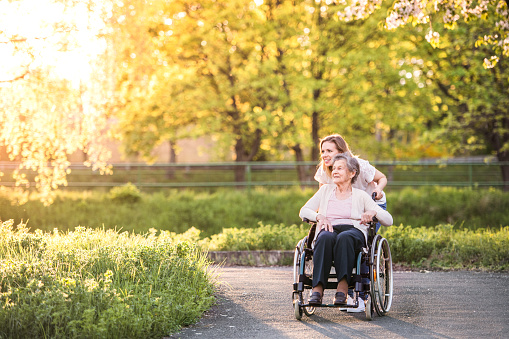 Elderly grandmother in wheelchair with granddaughter in spring nature. 960150966