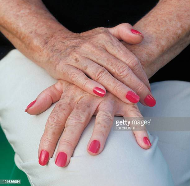 Elderly hands of woman