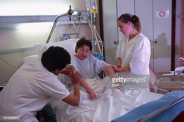 Elderly Hosp. Patient With Nurse