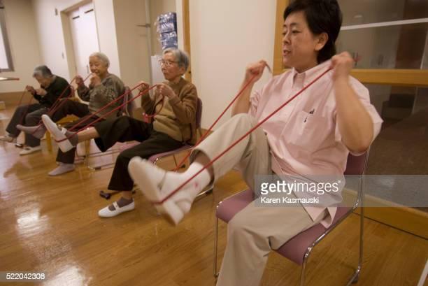 Elderly Japanese Women Exercising