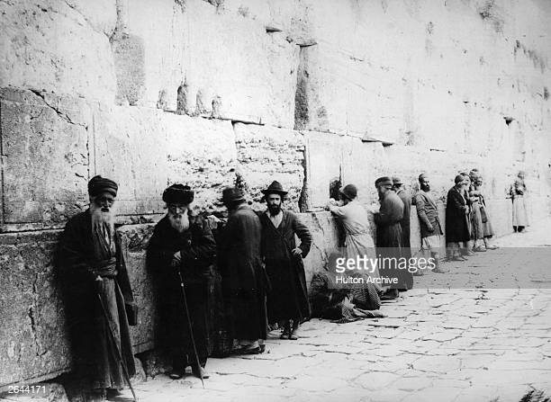 Elderly Jews at the Western, or Wailing, Wall, Jerusalem.