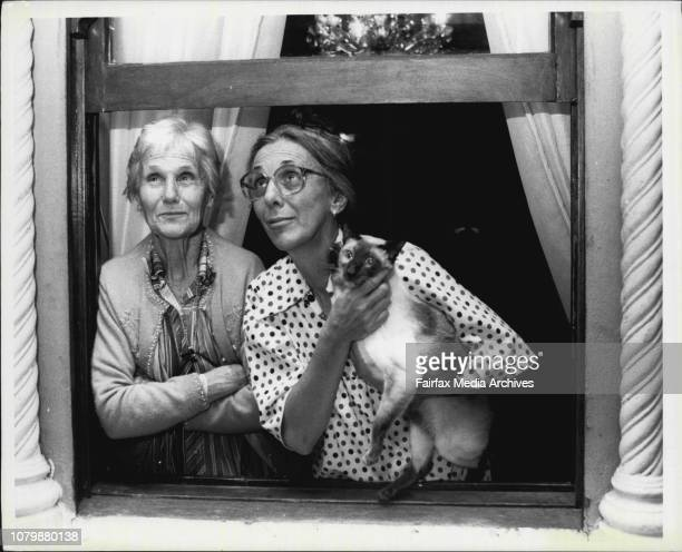 Elderly Ladies who barricaded themselves against Sydney's Big wet at Woolloomooloo Mrs Maude Allison and Daughter Mrs Lynn Piesley November 11 1984