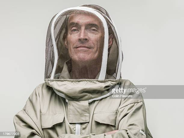 Elderly male beekeeper