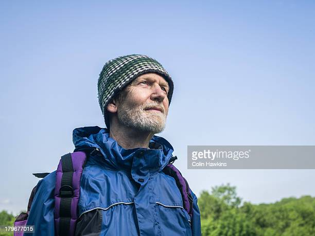 elderly male hiker - colin hawkins stock pictures, royalty-free photos & images