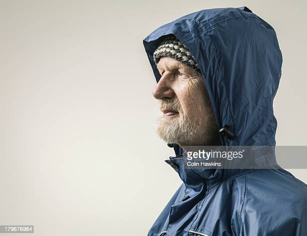 Elderly malein wet weather clothing