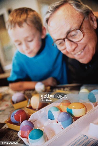 Elderly Man and Boy with Eggs