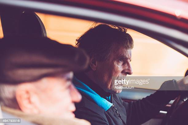 Elderly Man and Son Sitting in the Car, Europe