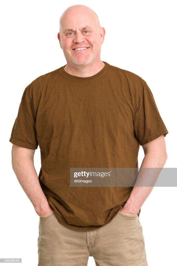 Elderly Man Badly Dressed In A Brown T Shirt High-Res
