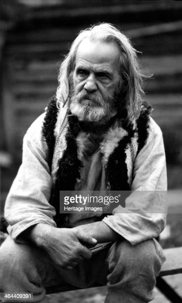 Elderly man Bistrita Valley Moldavia northeast Romania c1920c1945 Depicting customs and traditional labour in the rural Carpathian Mountains in the...