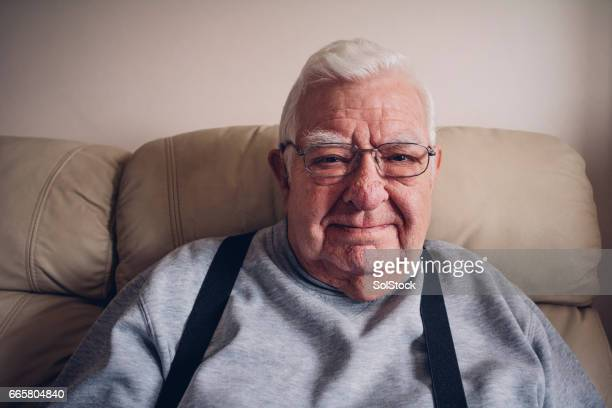 Elderly Man Happy at Home