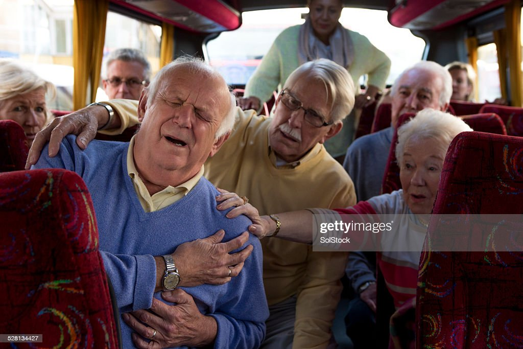 Elderly Man Having a Heart Attack : Stock Photo