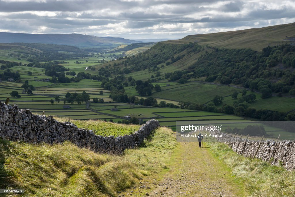 Elderly man hiking in the Yorkshire Dales national park, England : Stock Photo