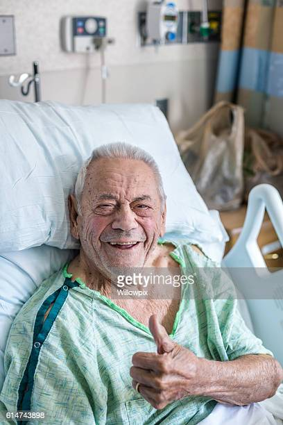 Elderly Man Hospital Patient Enthusiastic Smile Thumbs Up