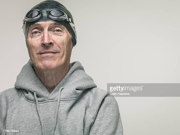 elderly man in swim wear - sportswear stock pictures, royalty-free photos & images