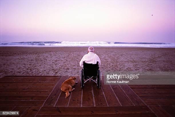 Elderly Man in Wheelchair Watching Surf with Dog on Boardwalk