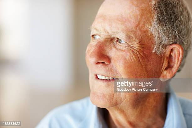 Elderly man looking away