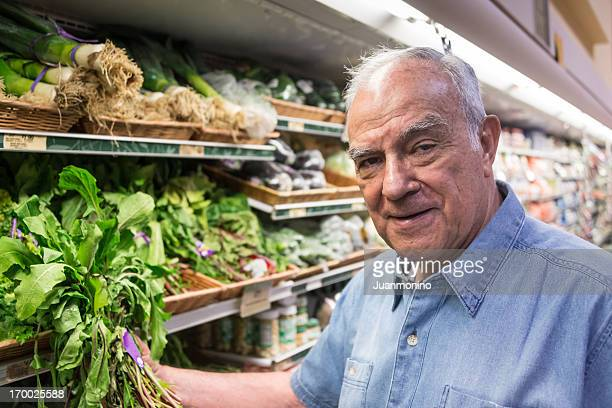 Elderly man looking to buy groceries